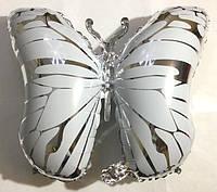 Фольгированный шар фигурка Бабочка серебряная