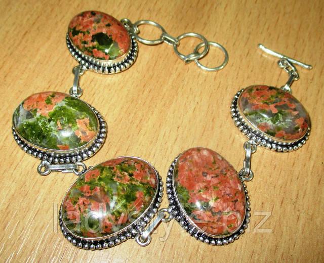 купить серебряный браслет ювелирные украшения унакит эпидот