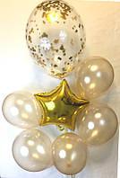 Композиция из 1 большого шара   и 1 звезды , и 5 шарами