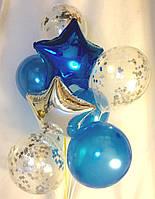 Композиция из 2 звёзд и 3 синих 12″ и 3 шаров с серебром