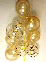 Композиция из шаров 5 золотых 12″ и 5  с золотым конфетти