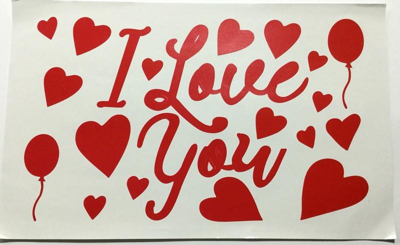 Наклейка с надписью I Love you