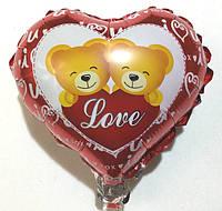 """Фольгированный маленький шар в форме сердца """" Love """""""