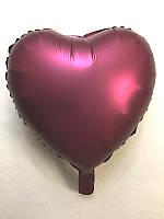 """Шар в форме сердца сатин """"Бордовый"""""""