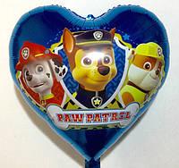 """Фольгированный шар в виде сердца  """"Щенячий патруль"""" (G002)"""
