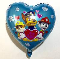 """Фольгированный в виде сердца шар  """"Щенячий патруль"""" (G009)"""