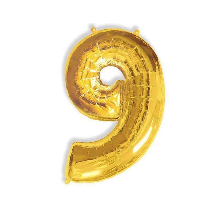 """Фольгированный шар цифра """"9"""", 1 метр"""