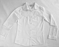 Школьная блузка с рукавом кружево 9-12 лет