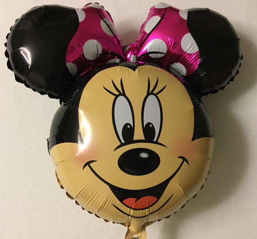 Фольгированный шар Минни Маус голова розовый бант  (DSN031)