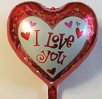 """Фольгированный шар в форме сердца """"I Love you"""""""
