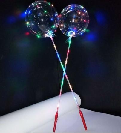 Светящийся воздушный шар Bobo на палочке 70 см с рукояткой
