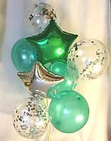 Композиция из 2 звёзд и 3 зелёных 12″ и 3 шаров с серебром