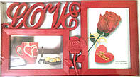 Мультирамка красного цвета на 2 фото Любовь