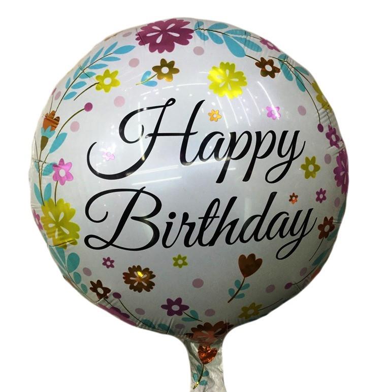 Фольгированный шарик круглый Happy Birthday