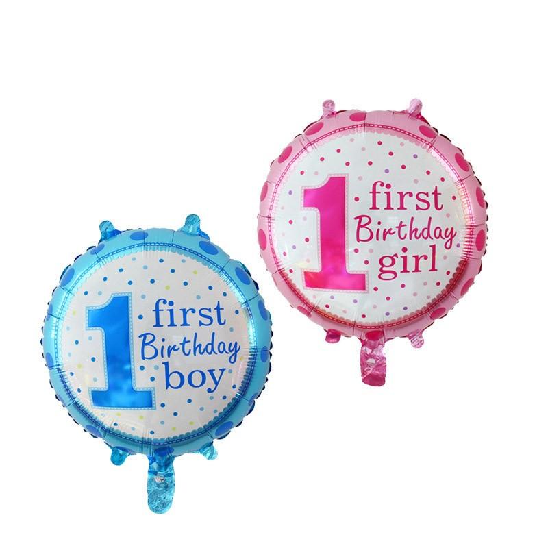 Фольгированный шар круглый 1 год, голубой