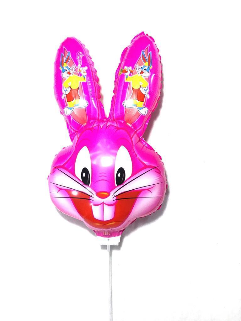 Комплект шарик на белой палочке Заяц розовый