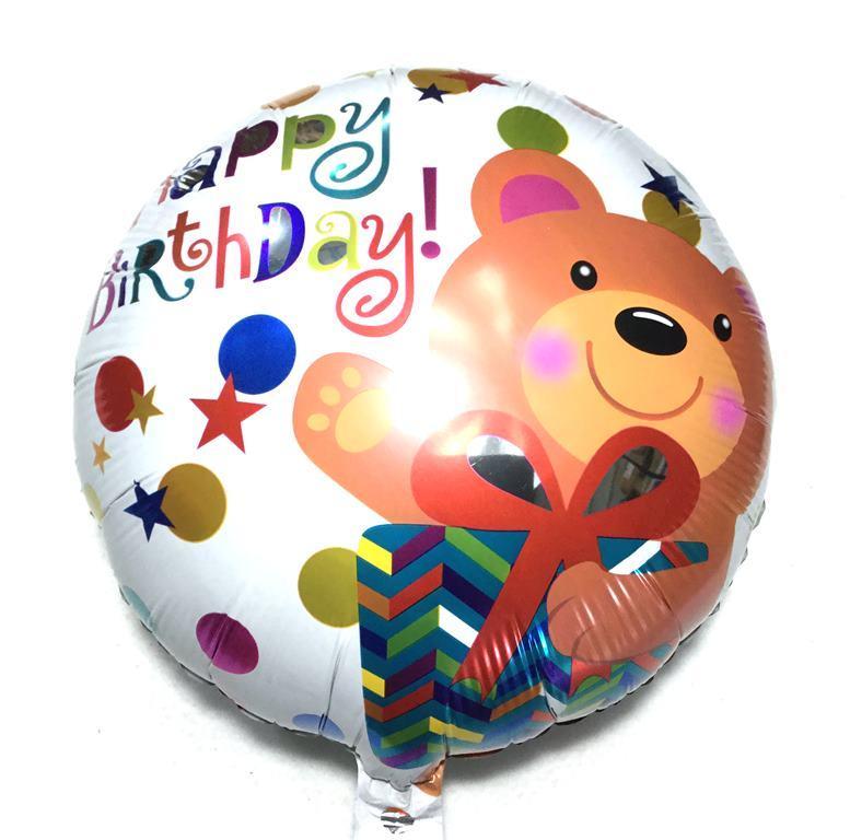 Фольгированный круглый шарик С днём рожденья мишка