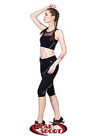 Капри для фитнеса RSK 45, черные (бифлекс, р-р S-XL)
