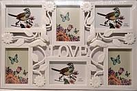 Фоторамка коллаж на 6 фото LOVE-Бабочки  (9A062)