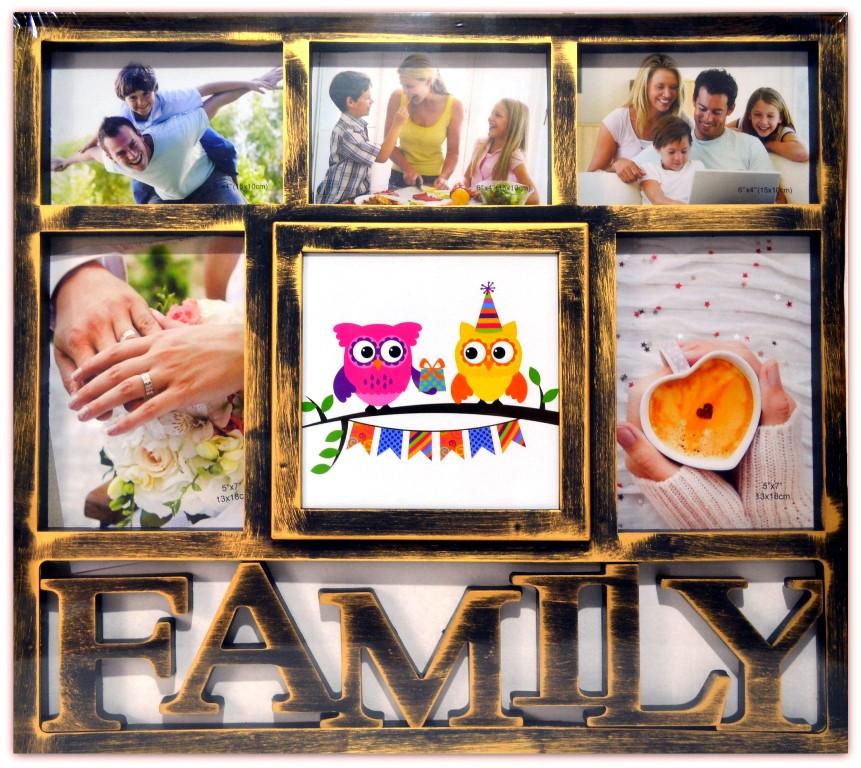 """Фоторамка коллаж на 6 фото """"Family"""", 015-26, (1701-1)"""