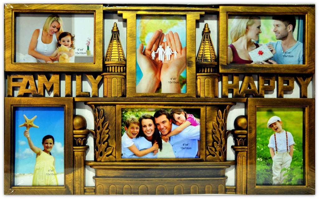 "Фоторамка коллаж на 6 фото ""Счастливая семья"", 015-17, (A-28)"