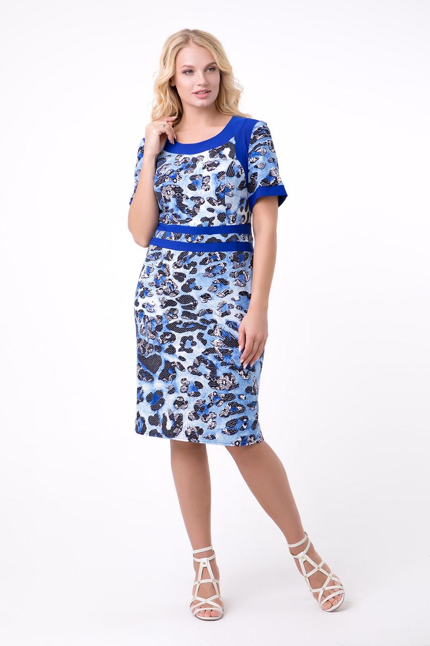Летнее женское платье со звериным принтом, 52-62