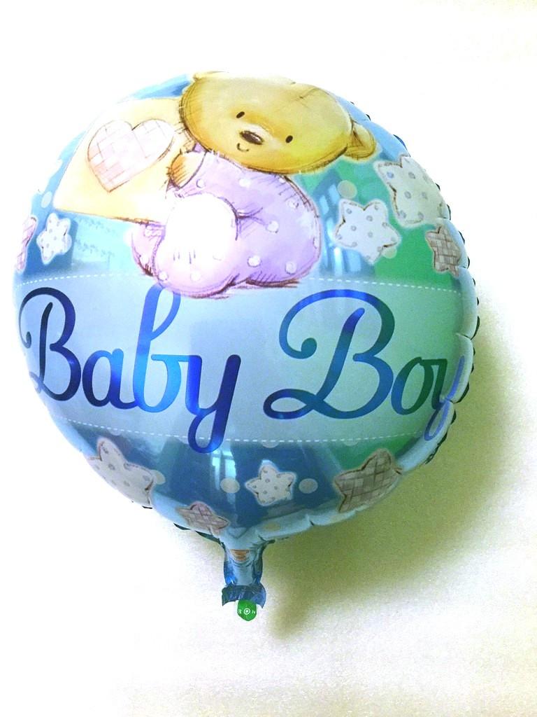 Фольгированный шар круглый Baby Boy с мишками  (HE-F3032)