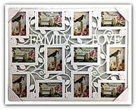 Рамка коллаж  на  12 фото FAMILY, белая