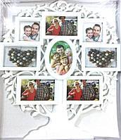 Рамка коллаж  белая на 8 фото Дерево (WT-108)