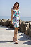 Летнее красивое платье на пуговицах с рюшами на плечах и пояском, норма и батал