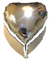 """Шар в форме сердца """"Однотонное"""" серебро, (B0296)"""