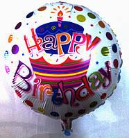 """Фольгированный шар круглый Тортик """"Happy Birthday  (AH-7054)"""