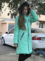 Зимнее подростковое пальто на девочку мятное, 36 - 42