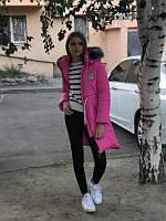 Малиновое подростковое пальто на девочку зимнее, 36 - 42