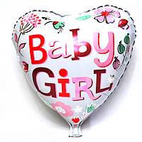 Фольгированный шар в форме сердца Baby Girl