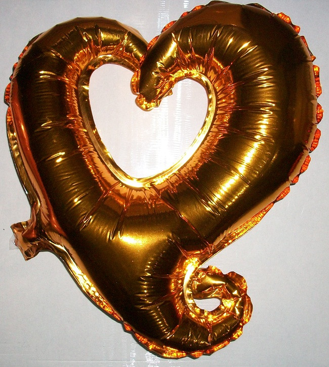 """Фольгированный шар в форме """"Сердце""""  – золотой"""