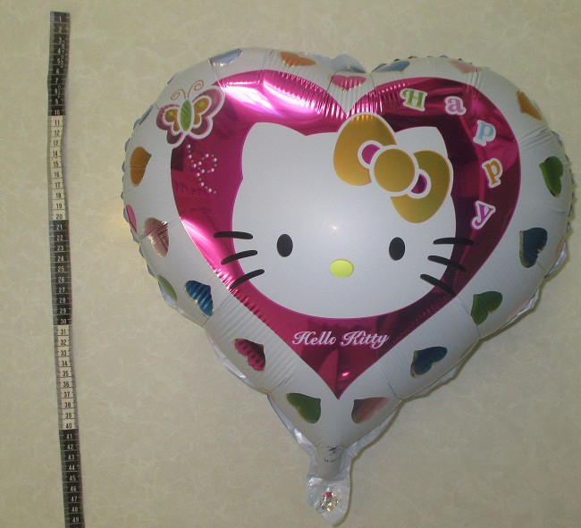 """Фольгированный шар сердце """"Китти"""", 45 см."""