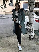 Зимнее подростковое пальто на девочку цвет хаки, 36 - 42
