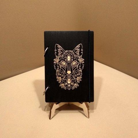 Скетчбук Wolf. Блокнот с деревянной обложкой Волк.