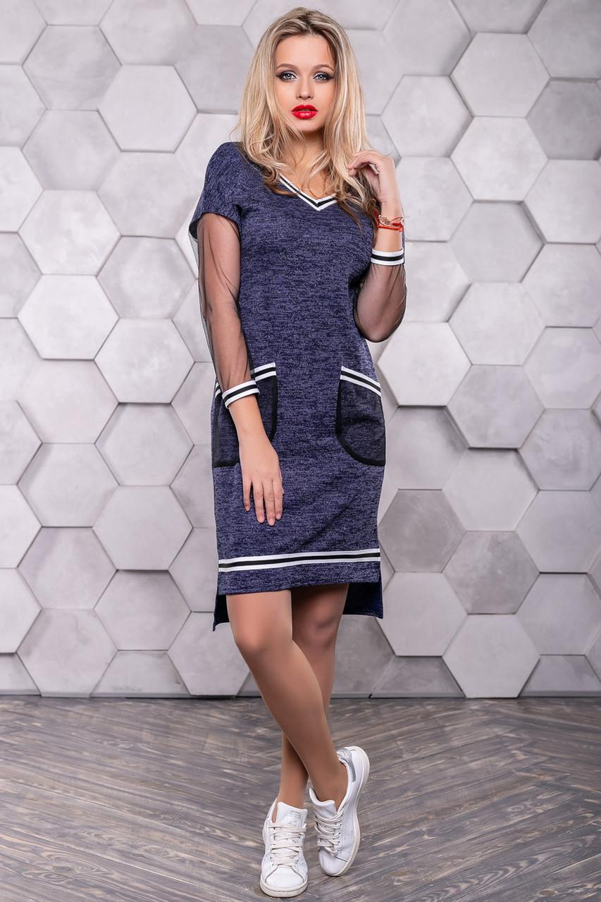 Синее платье спорт шик из трикотажа ангора с люрексом 3147