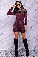 Шорты-юбка из итальянской экокожи на флисе 3004