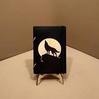 Скетчбук Волк с луной. Блокнот с деревянной обложкой.