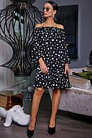 Черное платье в белый горох 3469, фото 1