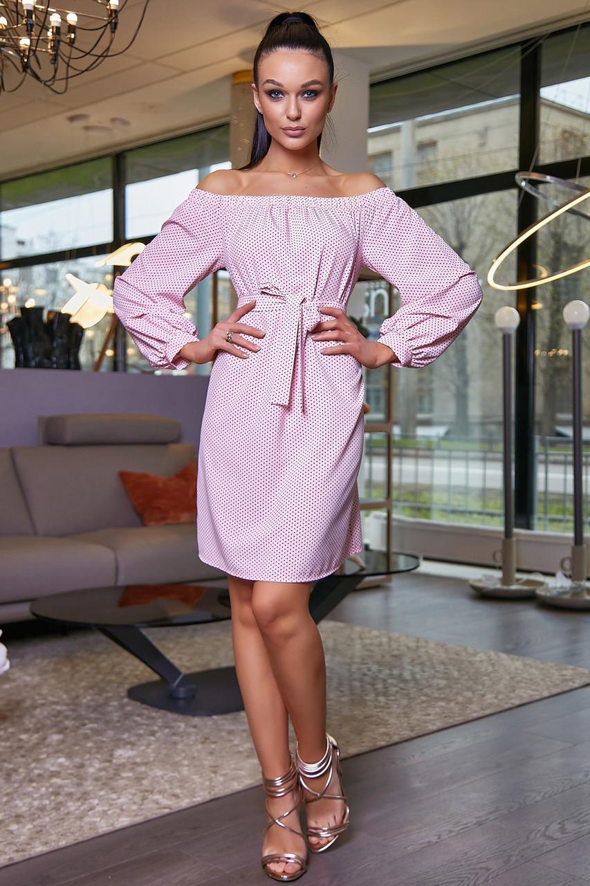Персиковое платье прямого покроя 3466, фото 1
