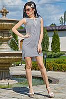 Серое пляжное платье в мелкий горошек 3481