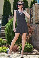 Гламурное платье в мелкий горшек с вышивкой 3501