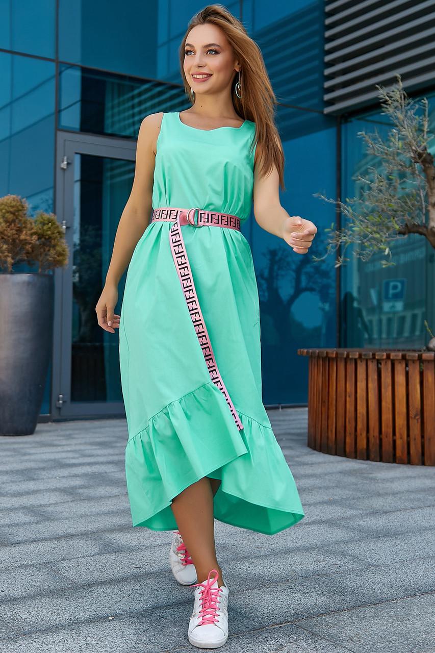 Модное молодежное платье мятного цвета 3563