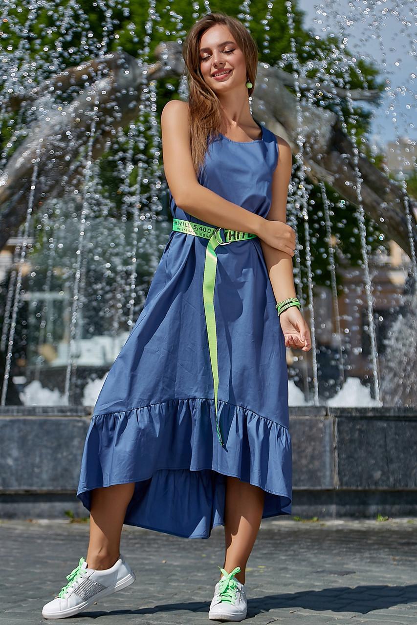 Модное молодежное платье синего цвета 3572