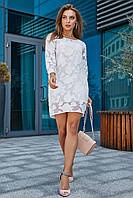 Изысканное и необычное стильное платье белого цвета 3541