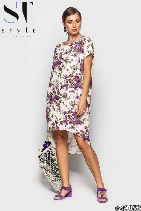 Летнее широкое платье из льна в цветочный принт, удлиненное сзади